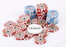 Casino chips. A pyramid made of casino chips Stock Photo