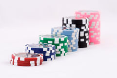 Casino chips. A pyramid made of casino chips Stock Images