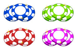Casino chips. Different color casino chips illustration isolated over white Stock Photography