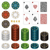 Casino chips. And aces playing cards isolated on white Stock Photo