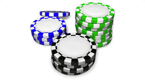 Casino Chips. Colored casino chips isolated on white background Royalty Free Stock Photography