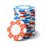 Casino chips. Red and blue casino chips vector illustration royalty free illustration