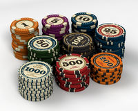 Casino chips. Of multiple values stock illustration