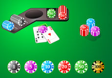 Casino chips. For poker, blackjack and bakkara table games in editable vector stock illustration