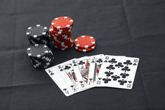 Casino chips. With texas holdem poker cards Royalty Free Stock Photos