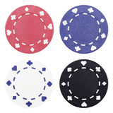 Casino Chips. Blue, Red, White And Black Casino Chip On Plain Background royalty free stock photos