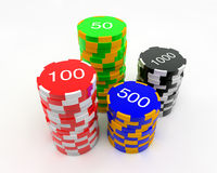 Casino Chips. 3D image of four stacks of several valued casino chips (colour-coded Stock Image