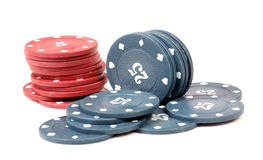 Casino chips. Beautiful shot of casino chips on white background royalty free stock photography