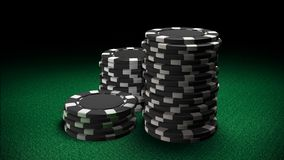 Casino chips black. The 3d rendering of difference coloured casino chips Stock Photography
