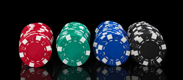 Casino chips on black royalty free stock images