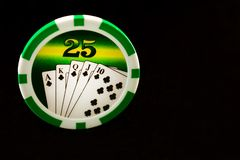 Casino chips on a black background. Gambling stock photo