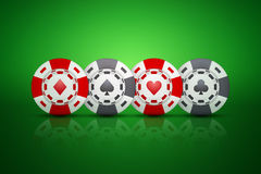 Casino chips with card suit symbols. On green background. Vector Illustration Royalty Free Stock Photo