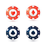 Casino chips with card suits symbols on white Stock Image