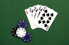 Casino Chips and Cards. On Green Background Stock Image