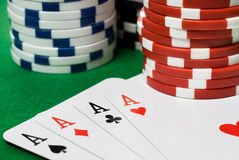 Casino chips and cards Royalty Free Stock Photos