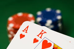 Casino chips and cards Stock Images