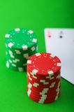 Casino chips and cards against  background Royalty Free Stock Photo