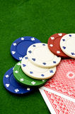 Casino chips cards Royalty Free Stock Images