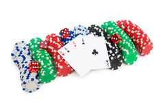 Casino chips and cards isolated Royalty Free Stock Photos