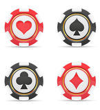 Casino chips with cards suits vector illustration Royalty Free Stock Photo
