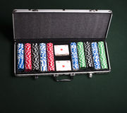 Casino chips case Stock Photo