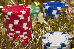 Casino chips close-up Royalty Free Stock Image