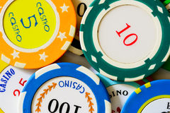 Casino chips close-up Royalty Free Stock Images