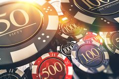 Casino Chips Concept. Casino Chips Gambling Concept 3D illustration. Casino Games royalty free illustration