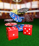 Chips and cubes. Casino chips and cubes on background stock illustration