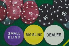 Casino chips and Dealer stock photo