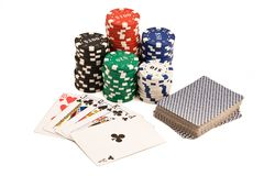 Casino chips, deck of cards and pocker straight. Royalty Free Stock Images