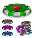 Casino chips with diamonds sign Royalty Free Stock Images