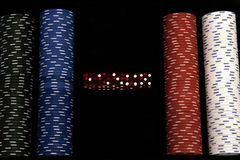 Casino Chips - Dice. Casino Chips - FourRows, Five Dices Royalty Free Stock Photos