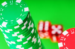 Casino chips and dice Stock Image