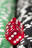 Casino chips and dice Royalty Free Stock Images