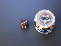 Casino chips and dice Stock Photos
