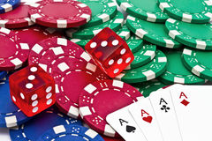 Casino chips ,dice and cards Royalty Free Stock Image