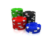 Casino Chips, Dice and cards Royalty Free Stock Photos