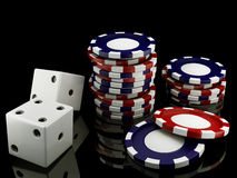 Casino chips and dice Stock Photo