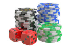 Casino chips and dice, 3D rendering. On white background royalty free illustration
