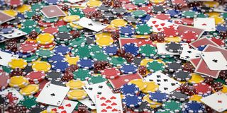 Casino chips, dice and poker cards background. 3d illustration stock illustration