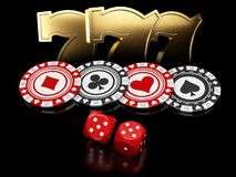 Casino chips with dice and slot machine signs on black background, 3d Illustration Stock Photography