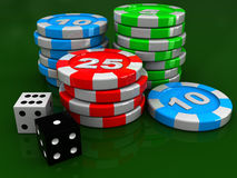 Casino chips and dices Stock Image