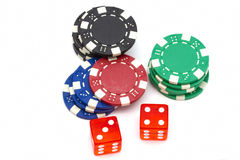Casino chips and dices Stock Photography