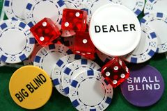 Casino chips and dices Royalty Free Stock Photography