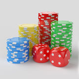 Casino chips with dices Royalty Free Stock Photography