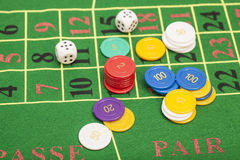 Casino chips and dices stacking Royalty Free Stock Photos