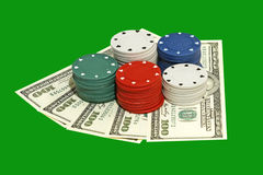 Casino chips and dollar banknotes. Stock Images