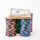 Casino chips with Dollar Stock Photo