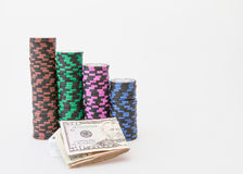 Casino chips with Dollar Royalty Free Stock Photo